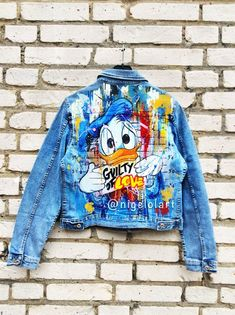 Discover recipes, home ideas, style inspiration and other ideas to try. Painted Denim Jacket, Painted Jeans, Painted Clothes, Denim Jacket Men, Denim Jackets, Hand Painted, Jean Jacket Design, Blue Jean Jacket, Custom Clothes