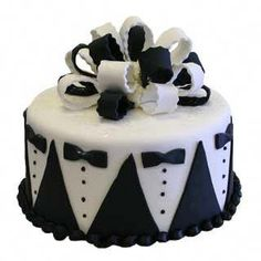 Black and white grooms or bachelor themed cake. Just Cakes, Cakes For Men, Fondant Cakes, Cupcake Cakes, Bachelor Cake, Tuxedo Cake, Shirt Cake, New Year's Cake, Wedding Cake Decorations
