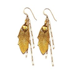 gold leaf earrings---I would love these for the Fall!