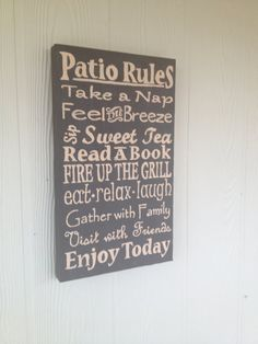Patio Rules Sign  Porch Rules Sign  Deck Rules by MoreThanFrills, $35.00