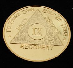 Vintage 24K Gold Plated Alcoholics Anonymous 9 Year Medallion Coin Token Chip | eBay