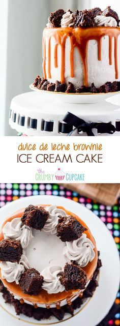 Dulce de Leche Brownie Ice Cream Cake | A cake straight out of heaven! Moist, fudgy brownie, layered with smooth & creamy dulce de leche ice cream, and topped with caramel mocha whipped cream! #cake #brownie #dulcedeleche #icecream #recipe #dessert
