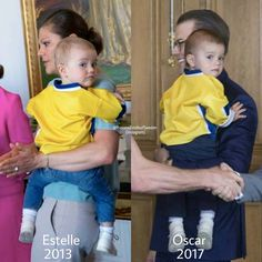 Estelle with mamma Victoria welcoming Sweden's men national ice hockey team Tre Kronor on May 20, 2013 (left picture) and Oscar with pappa Daniel welcoming Tre Kronor on May 22, 2014 (right picture)💛💙👑 Estelle and Oscar look like twins (who were born 4 years apart)😄👫 What do you think? #CrownPrincessVictoria #KronprinsessanVictoria #PrinceDaniel #PrinsDaniel #PrincessEstelle #PrinsessanEstelle #PrinceOscar #PrinsOscar #swedishroyalfamily #swedishroyals #kungafamiljen Princess Estelle, Crown Princess Victoria, Oscars 2017, Ice Hockey Teams, Swedish Royalty, Prince Daniel, S Man, 4 Years, Sweden