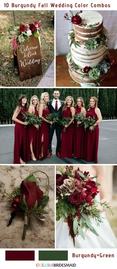Fall wedding colors burgundy and green