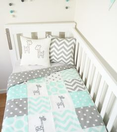 Mint and grey giraffe patchwork nursery set