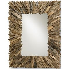 "Beautifully crafted in natural driftwood, this mirror evokes an earthy tone and feel. This rustic accent piece looks fantastic hung by itself or in multiples. A lovely accent for any room. - 40"" W x 5"