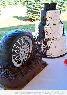 """Muddy tire groom cake along with bride cake. We can help achieve this look at Dallas Foam with cake dummies, cupcake stands and cakeboards. Just use """"2015pinterest"""" as the item code and receive 10% off your first order @ www.dallas-foam.com. Like us on Facebook for more discount offers!"""