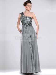 One Shoulder Satin Chiffon Column Evening Dress with Pleated Detail
