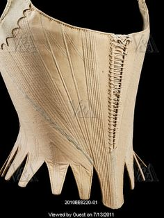 24-10-11  Stays. Linen. England, c.1780-89 doesn't look like boning, rather cording; notice the gussets: just turned over