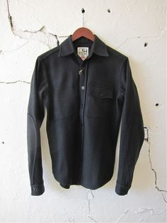 Klaxon Howl black wool CPO shirt. This is my new favorite shirt by far. You need to call up Klaxon Howl in Toronto and order one yourself at 6474366628.