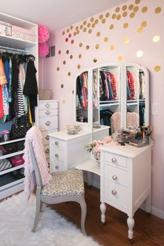 We love how Madelyn used our Gold Foil Confetti Dots to accent her glamorous dressing room. #dressingroomgoals #closetgoals Dressing Room Reveal | Glitter Where She Goes