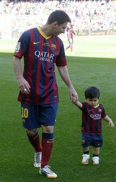Lionel Messi and his son, Thiago.