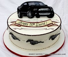 For the mustang fanatic! #desserts #cakes #mustang #birthday #cars #SweetSisters