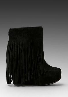 KOOLABURRA Veleta Fringe Wedge Boot in Black