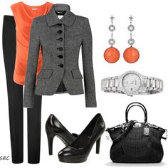 """Business Orange"" by coombsie24 on Polyvore"