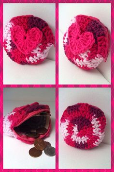 Round heart crochet change purse by RainbowLuvCreations on Etsy, $6.99