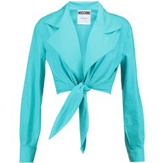 Moschino Cropped cotton-poplin blouse (3.975 CZK) ❤ liked on Polyvore featuring tops, blouses, turquoise, blue crop top, loose blouse, loose tops, crop blouse and cut-out crop tops