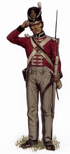 Soldier, 1st Regiment of Foot (Royal Scots), 1813-1816 The first battalion of the 1st Regiment of Foot (Royal Scots) served in Canada between 1812 and 1815. This man, marked as one of the regiment's centre companies by his white over red shako tuft, wears the 1812 pattern of uniform that would have been seen in Canada after 1813. This is the uniform that the Royal Scots wore at the battle of Chippawa in July 1814. Reconstruction by Gerald A. Embleton.
