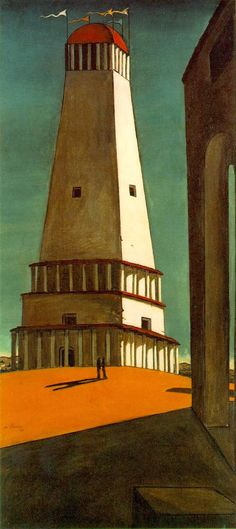 Giorgio De Chirico, La nostalgia dell'infinito (La nostalgie de l'infini), 1912? dated 1911. Oil on canvas, 135.2 cm × 64.8 cm, Museum of Modern Art, New York City. The subject of the painting is a large tower. The scene is struck by low, angular evening light. In the foreground below the tower are two small shadowy figures resembling those in future works by Salvador Dalí. This painting is the most famous example of the tower theme which appears in several of de Chirico's works.