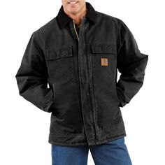 d918562b03 Carhartt Men's Extra-Large Black Cotton AQL Sandstone Traditional Coat