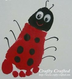 L is for ladybug! Maybe read the grouchy ladybug! Footprint art, sweet idea to keep those little kiddies busy on rainy spring days Kids Crafts, Daycare Crafts, Baby Crafts, Toddler Crafts, Crafts To Do, Preschool Crafts, Arts And Crafts, Kids Diy, Family Crafts