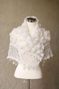 Bridal Shawl Bridal Cape Bridal Cover Up Bridal by MODAcrochet