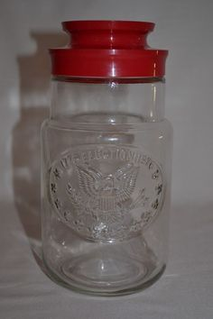 VINTAGE ANCHOR HOCKING Clear Glass Storage Jar with Red Lid 1776-1976 ELECTION  #AnchorHocking