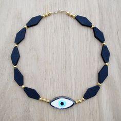 Coucou Suzette necklace // Ceramic jewelry ceramic beaded necklace / Halana Necklace / Collier elegant oeil Eye jewelry Devil Eye necklace gypsy necklace statement necklace Tribal necklace bohemian necklace