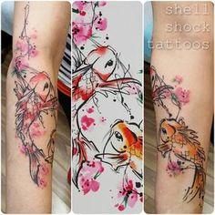 Two lovely koi and sakura. #tattoo #tattoos #pdxtattoos #portland #portlandtattoos #watercolor #watercolortattoo #colorful #splashy #abstract #abstracttattoos #freshink #rethinkyourink #spektrahalo #neotat #eternalink #tattrx #koi #sakura #cherryblossoms #finearttattoos #tattooedwomen #tattooworkers #ladytattoers #sketchy