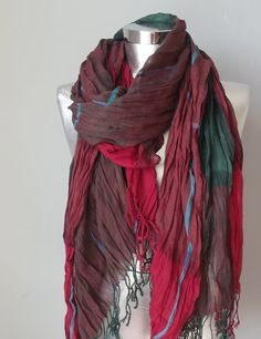 Mens scarf summer scarf plaid scarf cowl oversize by Scarfashion