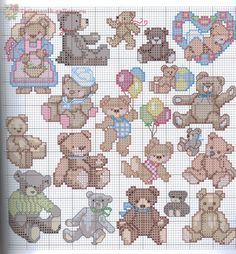 Cute Little Bears - 12 Cross Stitch For Kids, Cross Stitch Boards, Just Cross Stitch, Cross Stitch Baby, Cross Stitch Animals, Counted Cross Stitch Patterns, Cross Stitch Designs, Cross Stitch Embroidery, Christmas Embroidery Patterns