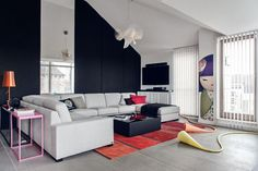 11 Apartment in Gdańsk//Formativ. Sofa, Couch, Black Walls, Wall Design, Interior Design, Furniture, Poland, Living Rooms, Design Ideas