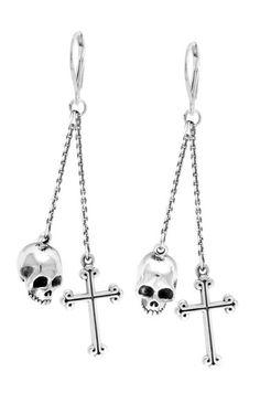 Gothic Jewelry Box Diy Leverback Earrings w/Skull and Traditional Cross Drops - Skull Earrings, Skull Jewelry, Gothic Jewelry, Silver Hoop Earrings, Crystal Earrings, Crystal Jewelry, Fine Jewelry, Chain Earrings, Silver Ring