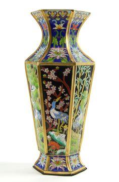 VINTAGE CHINESE CLOISONNE VASE Crane Bamboo Sakura Gift