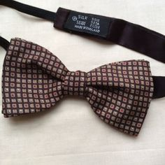 Vintage silk bow tie Mid Century brown burgundy by coolclobber
