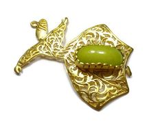 24K Matte Gold Plated, Large Sufi Whirling Dervish Green Jade Stone - Semazen Pendant Charm - GS030