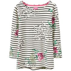 Joules Harbour Print Jersey Top, Cream Floral Stripe (£30) ❤ liked on Polyvore featuring tops, jersey top, three quarter sleeve tops, floral top, stripe top and round top