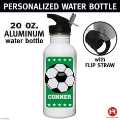 Soccer Water Bottle  Personalized Water by HeatherRogersDesigns, $17.00