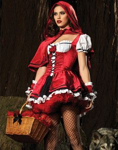Adult Red Riding Hood Costume | Hot-Sexy-Club-Party-Deluxe-Little-Red-Riding-Hood-White-Red-Halloween ...