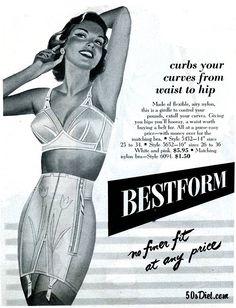 4211e207db4fb vintage ad Bestform girdle illustration woman in bra and girdle