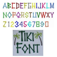 Tiki Embroidery Font Sizes: 1in, 2in, 3in Upper Case, Numbers 0-9 Palm Trees