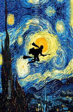 Harry Potter Van Gogh Starry Night Art Painting Art Print