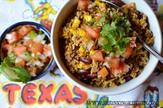 Tex-Mex Rice Bowl - An idea for leftover taco meat