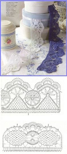 If you looking for a great border for either your crochet or knitting project, check this interesting pattern out. When you see the tutorial you will see that you will use both the knitting needle and crochet hook to work on the the wavy border. Crochet Edging Patterns, Crochet Lace Edging, Crochet Borders, Crochet Chart, Lace Patterns, Thread Crochet, Filet Crochet, Irish Crochet, Crochet Designs