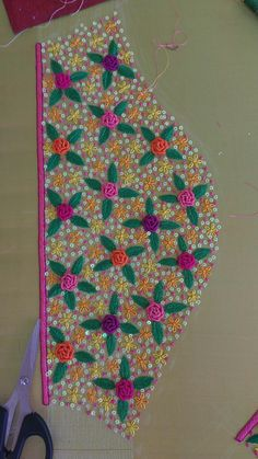 Discover thousands of images about Sleeve design Simple Embroidery Designs, Kurti Embroidery Design, Hand Work Blouse Design, Simple Blouse Designs, Hand Embroidery Dress, Embroidery Flowers Pattern, Maggam Work Designs, Sleeve Designs, Saree