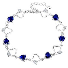 """EleQueen 925 Sterling Silver CZ Love Heart of Ocean Titanic Inspired Tennis Bracelet, 7.2""""+1.2"""" Extender. SGS Certified item, EleQueen Original Patented Design, the Highest Quality Standards in Jewelry; Environmental friendly high polished finish Genuine 925 Sterling Silver with Cubic Zirconia, this jewelry shines with beauty and adds a luxurious look. CZ Color: Sapphire Color; Adjustable Bracelet Length: 7.2in-8.4in, Bracelet Width: 0.4in; Total weight: 7g. A perfect accessory to your..."""