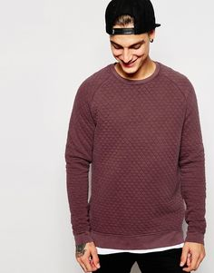 Image 1 ofASOS Sweatshirt With Quilting and Pigment Wash