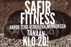 Kuka voittaa tänään Safir Fitneksen viimeisen Teho-verkkovalmennuksen (OVH 99,90€)?!  Vielä ehdit osallistua kilpailuun!   Tällä saat varmasti boostia kehonmuokkaukseesi. Osallistua voit Safir Fitneksen Facebook-sivulla klikkaamalla kuvaa.