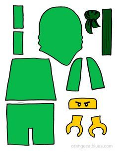 Lego Ninjago printable cutout for toddler gluestick art: The Green Ninja, Lloyd