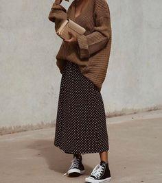 modest wear hijab minimal monochrome street style autumnwinter springsummer neutral smart casual oversized jumper nude korean - New Site Long Skirt Fashion, Long Skirt Outfits, Long Skirts, Long Skirt Style, Fall Skirts, Look Fashion, Korean Fashion, Winter Fashion, Fashion Beauty